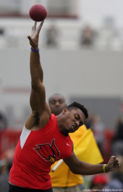 Wheeling Jesuit junior Darius Berry competes in shot put at Youngstown State University on Friday, Feb. 2, 2018.